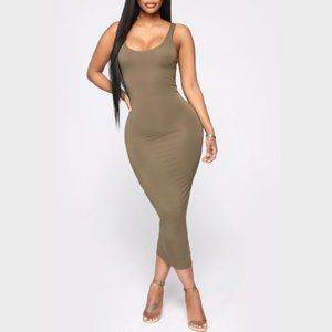 FASHION NOVA YOUR NEEDS MET OLIVE BODY CON DRESS